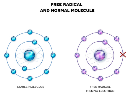 damaged: Free radical with missing electron, unpaired electron and stable, normal molecule. Illustration