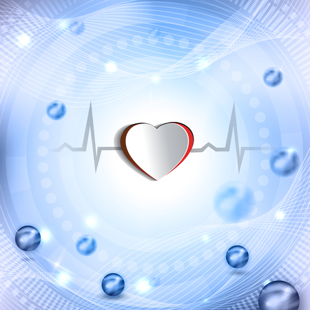 out of shape: Cut out heart shape and cardiogram. Beautiful abstract background with balls.