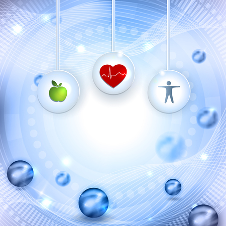 beautiful eating: Symbols how to get healthy life, eating healthy food and fitness leads to healthy heart and life. Beautiful abstract  bright background with balls.
