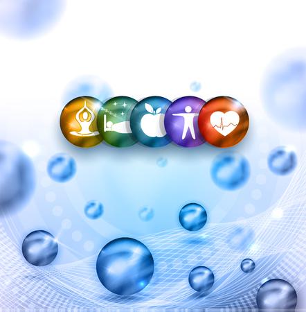 Gesundes Wohnen Runde Symbole. Gesunde Ernährung, Fitness, kein Stress und gesundes Gewicht führt zu gesunden Herzens und des Lebens. Schöne helle Farben und abstrakte hellblauen Hintergrund mit Kugeln. Standard-Bild - 67340853