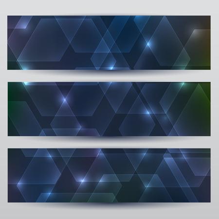 Abstract hexagon dark blue banner set background with glow