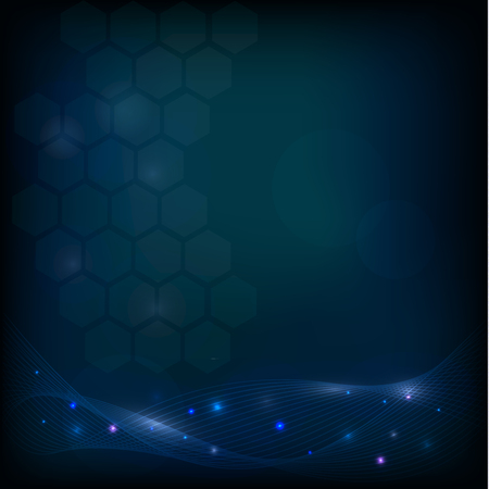 glow in the dark: Abstract dark background design with hexagons, lines and glow