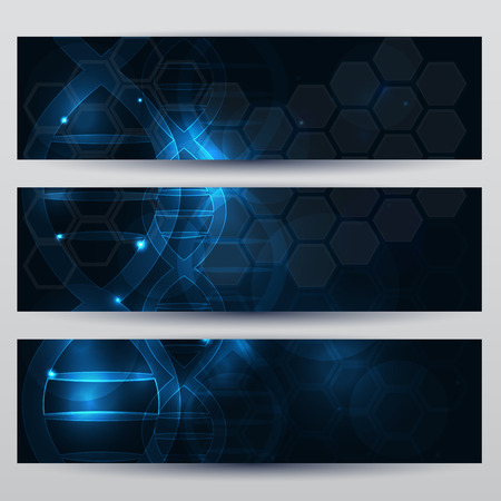 glow in the dark: Abstract scientific DNA banners beautiful dark blue background with glow Illustration