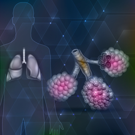 alveolos: Lungs and alveoli on an abstract hexagon dark background Vectores