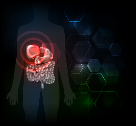 diagnosis: Liver disease illustration, variety of illnesses can affect the liver- cirrhosis, alcohol abuse, hepatitis. Abstract dark glowing hexagons at the background