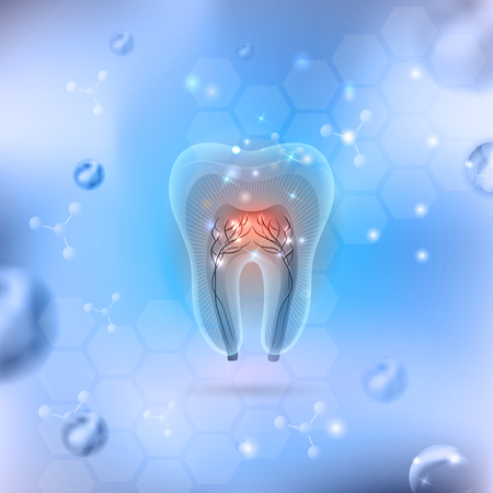 nerve damage: Beautiful transparent tooth cross section on an abstract background Illustration