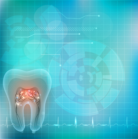 Beautiful transparent tooth cross section on an abstract background and normal cardiogram at the bottom Vector Illustration
