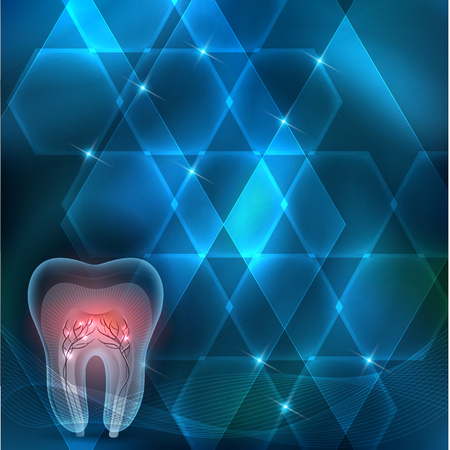 nerve damage: Tooth cross section abstract bright blue background