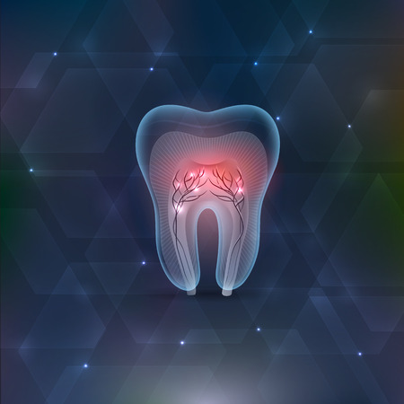 nerve damage: Tooth cross section abstract geometric shapes background Illustration