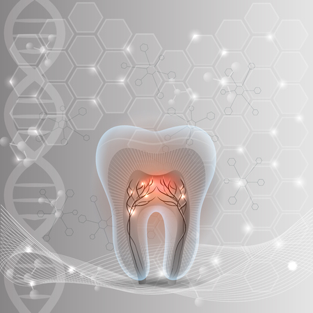 nerve damage: Tooth cross section abstract DNA light grey background