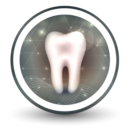 inflamed: Healthy tooth round shape icon, abstract transparent shapes and wave at the background