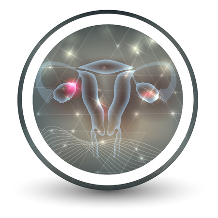Female uterus and ovaries round shape icon, abstract transparent shapes and wave at the background Illustration