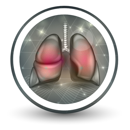 Lungs round shape icon, abstract transparent shapes and wave at the background