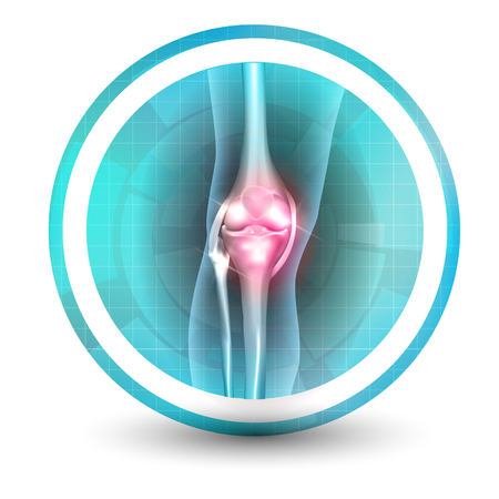 Knee joint health care icon, abstract transparent shapes and wave at the background.
