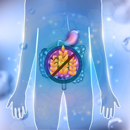 Diète sans gluten, conception abstraite, anatomie du tractus gastro-intestinal sur fond abstrait
