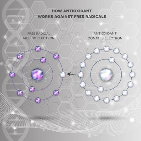 Come funziona l'antiossidante contro i radicali liberi. L'antiossidante dona elettrone mancante a radicali liberi, ora tutti gli elettroni sono accoppiati. Astratto scienza sfondo.
