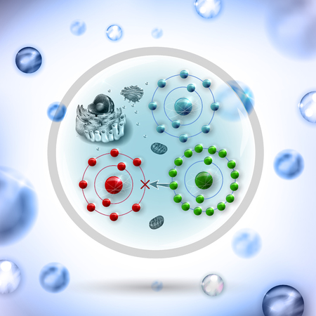 How antioxidant works against free radicals. Antioxidant donates missing electron to Free radical, now all electrons are paired. Abstract science background. 일러스트