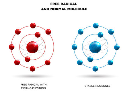 Free radical and normal molecule illustration