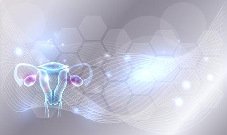 Weibliche Uterus und Eierstöcke auf einem abstrakten hellgrauen Hintergrund mit Linien, Glühen und Zellen.