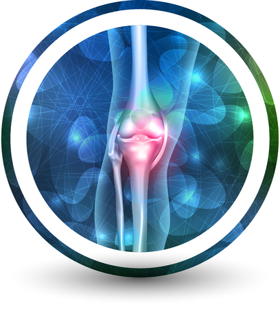 Joint health care icon, abstract transparent overlay shapes and glow at the background