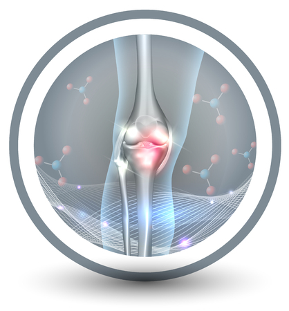 Joint health care icon, beautiful abstract design, wave and molecules at the background