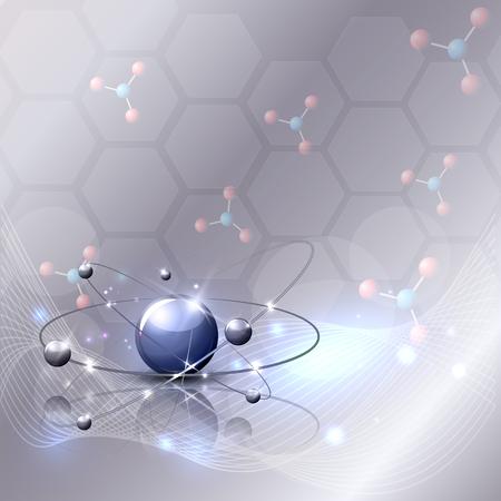 Abstracte 3d wetenschappelijke achtergrond met golf, moleculas en mooie gloed