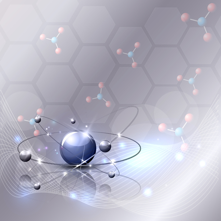 Abstract 3d scientific background with wave, moleculas and beautiful glow