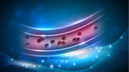 Gesunde Arterienanatomie, Blutfluss innerhalb der Illustration des Behälters 3d auf einem abstrakten blauen Hintergrund