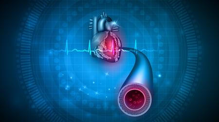 Conception abstraite de soins de santé cardiaque, cardiogramme et vaisseau sanguin. Illustration