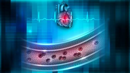 flujo de sangre de flujo y la ilustración del corazón .
