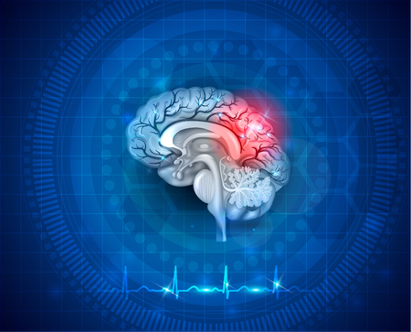 Koncepcja uszkodzenia i leczenia ludzkiego mózgu. Streszczenie niebieskim tle z kardiogramem. Ilustracje wektorowe