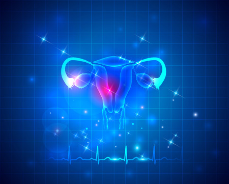 reproduce: Female reproductive organs uterus and ovaries health care on an abstract blue background, normal cardiogram at the bottom