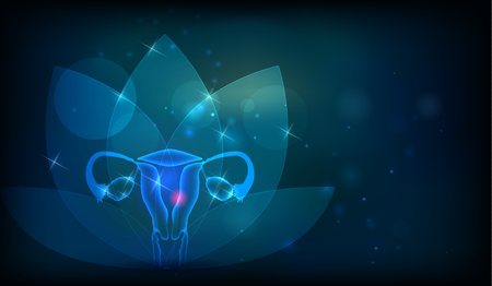 Female reproductive organs flower at the background. Fertility and reproductive system health care. Çizim