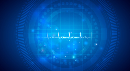 Cardiogram of a normal heart rhythm on an abstract background