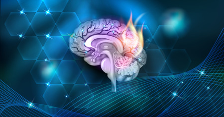 Brain problems abstract burning design on a beautiful dark background Иллюстрация