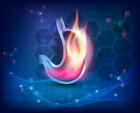 Ardor de estómago sobre un fondo científico azul oscuro Ilustración de vector