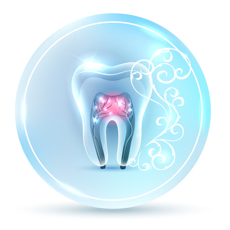 Beautiful clean artistic tooth anatomy icon, with white abstract swirly flower on a delicate clean blue background Stock Illustratie