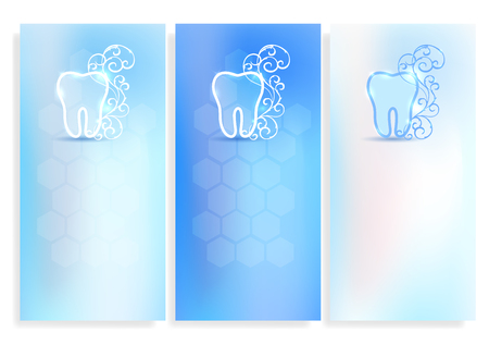 Set of beautiful dental blank templates, tooth symbol with white abstract swirly flower on a delicate clean blue background