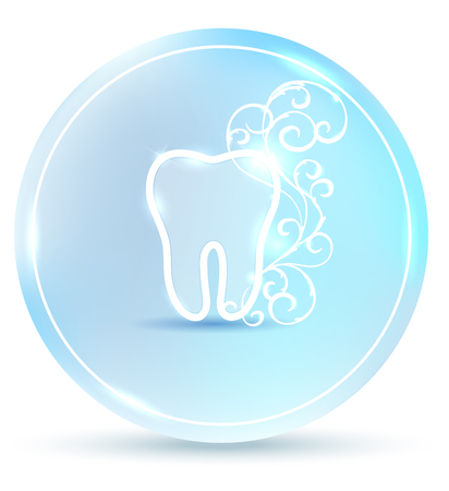 Beautiful dental symbol, round tooth icon with white abstract swirly flower on a delicate clean blue background