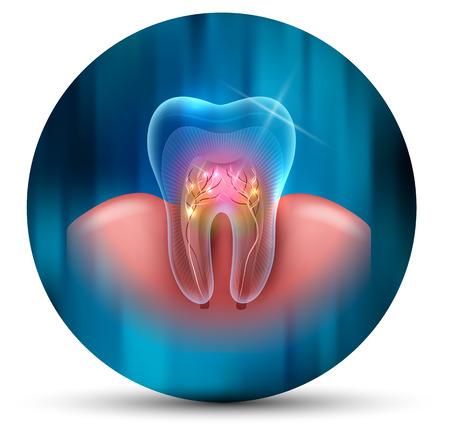 Icono de diseño moderno científico de sección transversal de diente sobre un fondo azul abstracto