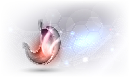 Stomach disorder abstract design on a beautiful glowing background, fire inside of the stomach, pain concept