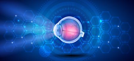 Human eye anatomy on a blue scientific background 版權商用圖片 - 125473515