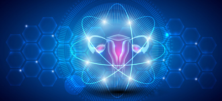 Female uterus abstract scientific background, reproductive organs treatment concept 版權商用圖片 - 117791500