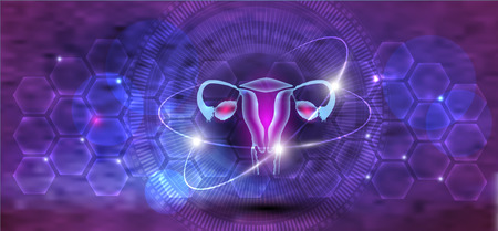 Female uterus and ovaries abstract scientific background, reproductive organs treatment concept on a beautiful abstract bright science backdrop Stock Illustratie
