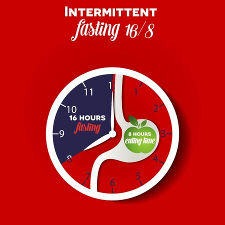 Intermittent fasting clock 16/8 for weight loss and health. Clock with stomach silhouette and apple inside as a eating time concept 版權商用圖片 - 141481672