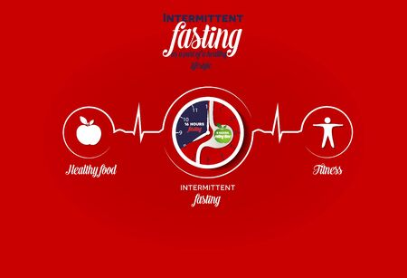 Intermittent Fasting as a part of a healthy lifestyle. Healthy food, fitness and intermittent fasting leads to healthy heart and life.  Intermittent fasting 16/8 clock symbol connected with heart beat line.