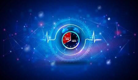 Intermittent Fasting clock inside the abstract heart beat line as a health care concept on an abstract blue scientific 版權商用圖片 - 141746132