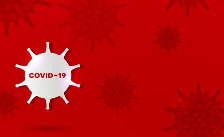 Coronavirus abstract design bright red background.