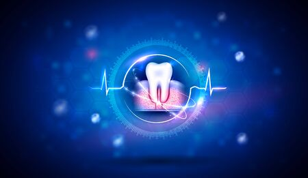 Teeth health care abstract design background, cardiogram around the tooth as a treatment and healing. 版權商用圖片 - 143964569