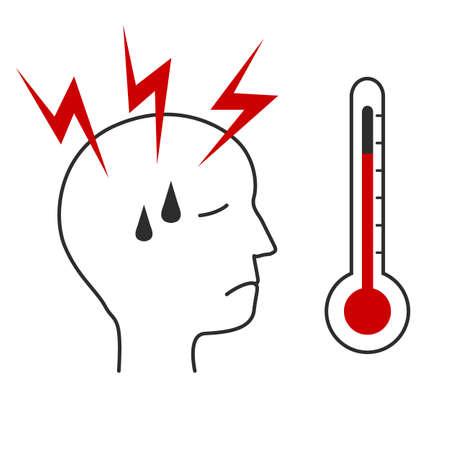 High body temperature and headache or migraine simple symbol design Stock Illustratie